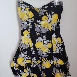 Speechless Black Yellow Floral Print Bubble Dress